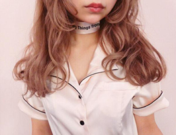 jewels pink pastel pastel pink choker necklace shirt choker necklace kawaii