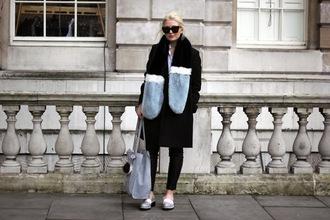 maisie ivy blogger coat shirt pants bag sunglasses shoes fur scarf