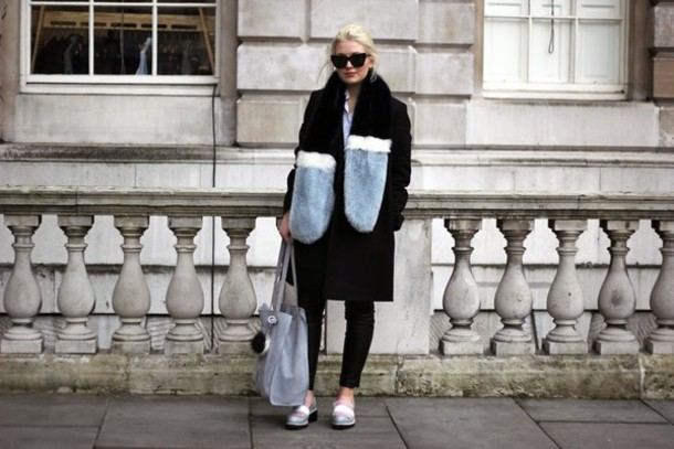 maisie ivy blogger coat shirt pants bag sunglasses shoes fur scarf finery london