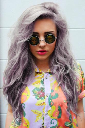 blouse floral pastel punk pastel punk rock hipster pastel goth sunglasses