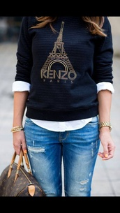 sweater,paris,black,top,jacket,winter sweater,kenzo sweater,kenzo,kenzo sweatshirt,eiffel tower,tour eiffel