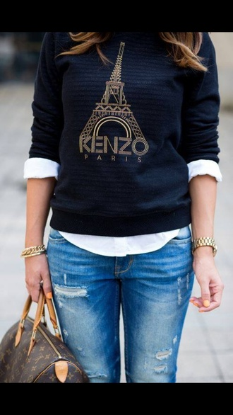 sweater paris black top jacket winter sweater kenzo sweater kenzo kenzo sweatshirt eiffel tower tour eiffel