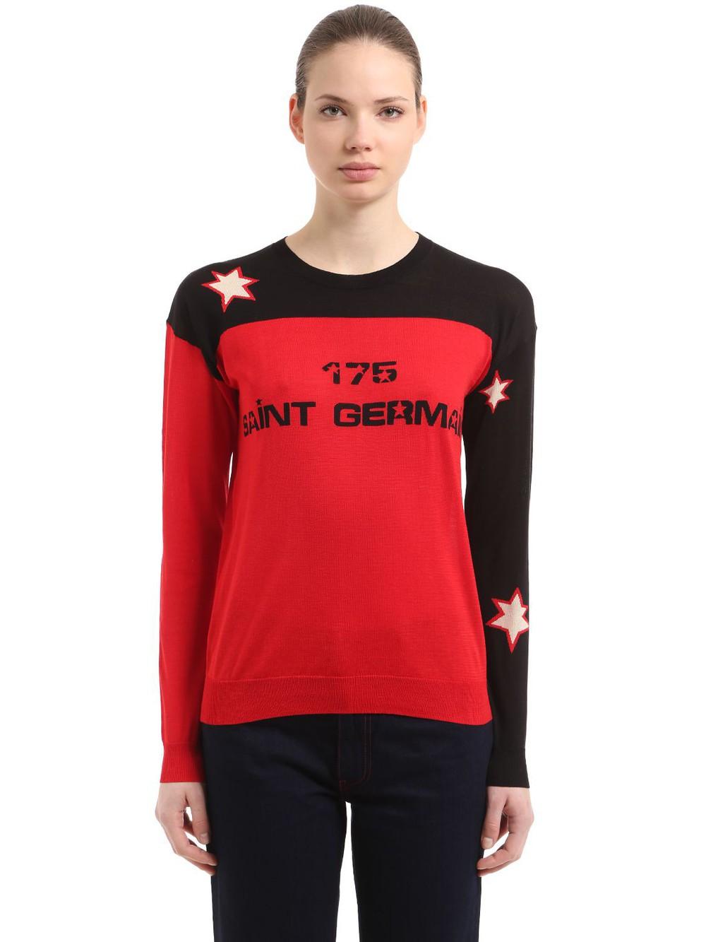 SONIA RYKIEL Intarsia Two Tone Silk & Cotton Sweater in red