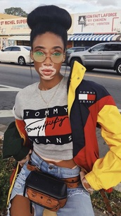 sunglasses,round sunglasses,mcm,jeans,sunnies,glasses,round frame glasses,winnie harlow,model,model off-duty,accessories,Accessory,jacket