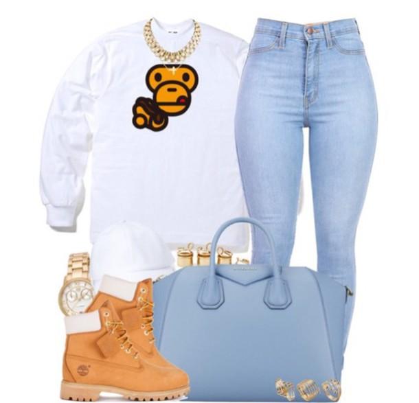 sweater sweatshirt jewels jeans boots bag watch shoes jumpsuit