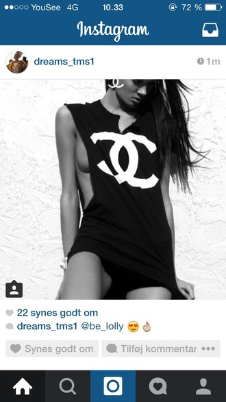 blouse black dress t-shirt white chanel t-shirt