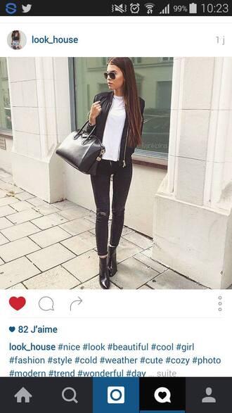 shoes boots black sunglasses black jeans white top top bag black bag