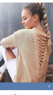 sweater,backless sweater,laces sweater