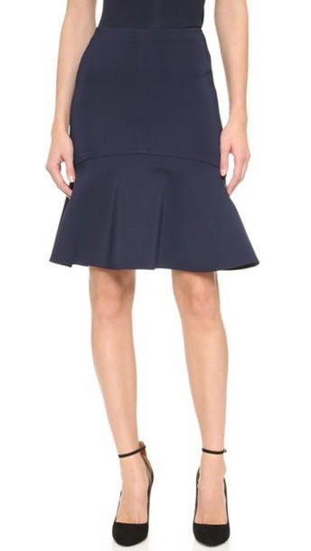65b14718e Yigal Azrouel Yigal Azrouel Mechanical Stretch Fit & Flare Skirt - Midnight