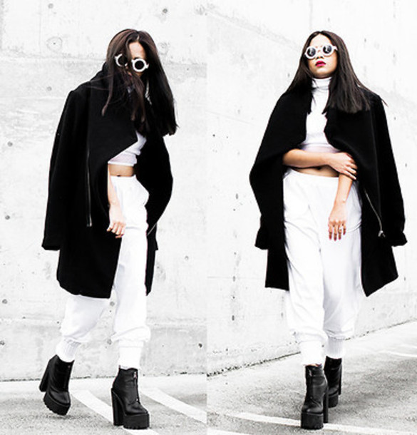 coat black boots white crop tops white trousers shades