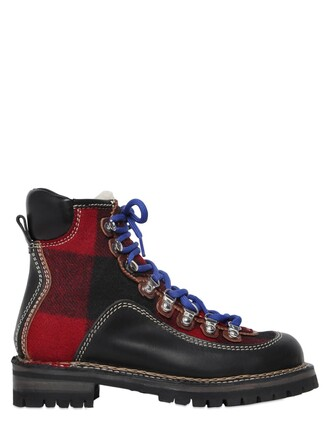 plaid boots leather wool black red shoes