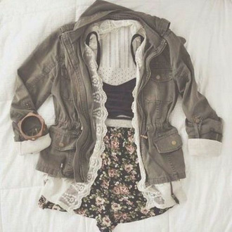 shorts jacket blouse underwear bralette green army green jacket camouflage top bracelets cute coat shirt skirt green jacket lace jacket olive green vintage black floral crop tops boho bohemian spring cardigan lace floral vintage green coat hipster