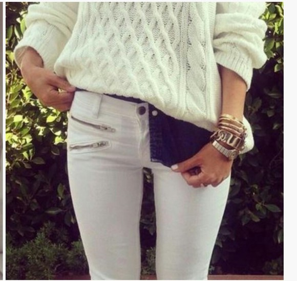 white pants bracelets winter sweater