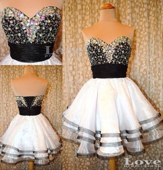 dress prom dress homecoming dress prom homecoming sparkle sparkly dress black amd white gold black white school dance dance back to school special occasion dress white dress