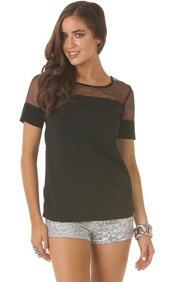 top short sleeved t-shirt sheer short sleeve sheer neckline