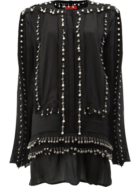 Di Liborio blouse long women embellished black silk wool top
