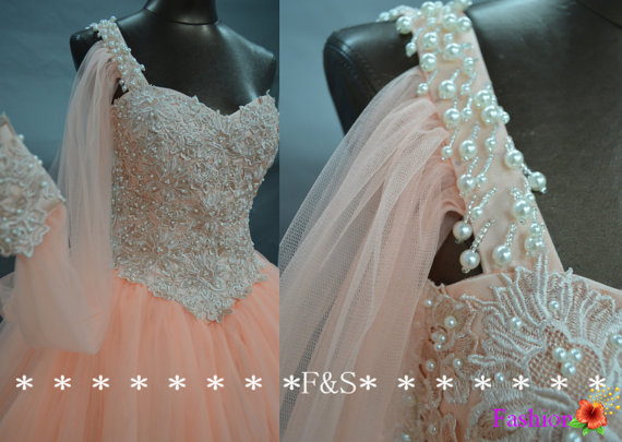Ball gown prom dresspuffy tulle one sleeve by fashionstreets