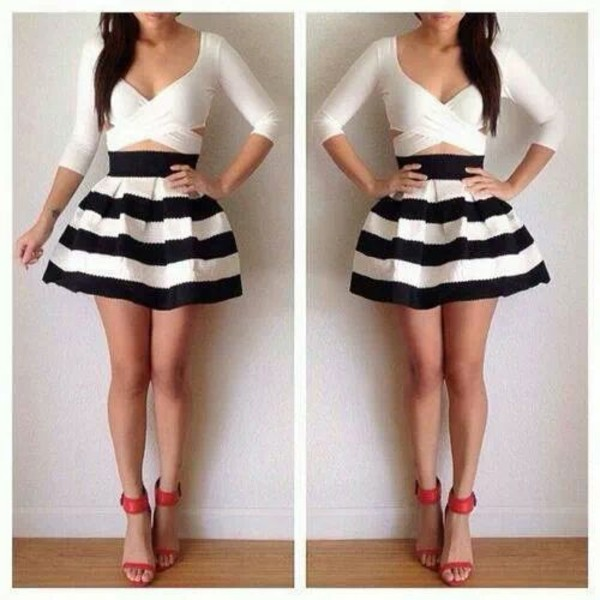 blouse skirt shoes black white short cute dressy dress style skater skirt stripes summer blue sexy mini skirt blackandwhitestripes circle skirt white cutout shirt