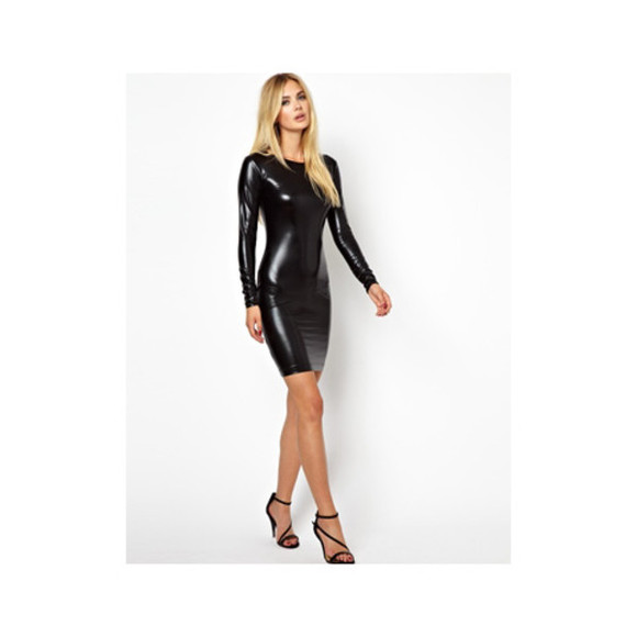 dress metallic aq aq tina bodycon pvc wet look mini dress