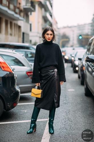 sweater black sweater skirt boots streetstyle midi skirt leather skirt wrap skirt
