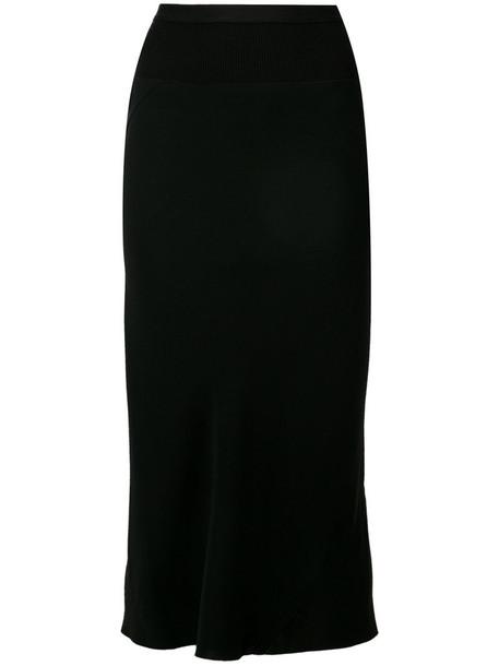 Rick Owens skirt midi skirt pleated back women midi cotton black