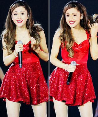 dress red ariana grande skater dress bow ari smile skater skirt red dress red prom dress bows