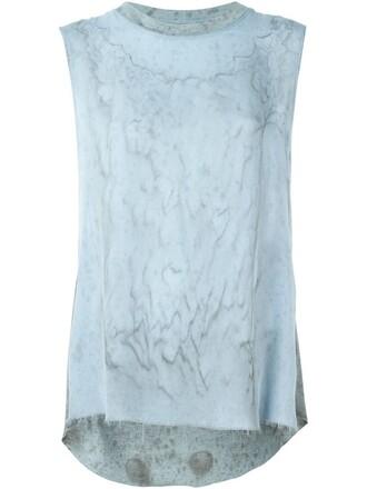 tank top top tie dye print blue