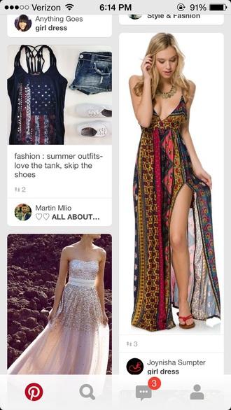 dress boho dress boho chic bohemian slit dress maxi dress patterned dress summer dress