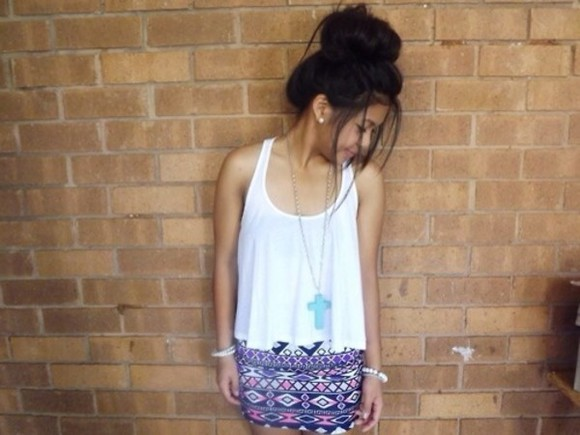 skirt aztec top tribal pattern tribal skirt tumblr tumblr girl