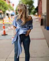 top,tumblr,blue top,wrap top,embroidered,denim,jeans,blue jeans