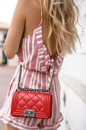 bag,tumblr,red hair,chanel,chanel bag,chanel boy,designer bag,quilted bag,romper,stripes,chain bag,backless,pattern,striped romper,summer outfits,wavy hair,londe hair,cute,retro,red bag,uilted bag