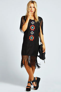 Holly Embroidered Tassel Dress at boohoo.com