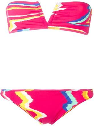 bikini pattern purple pink swimwear