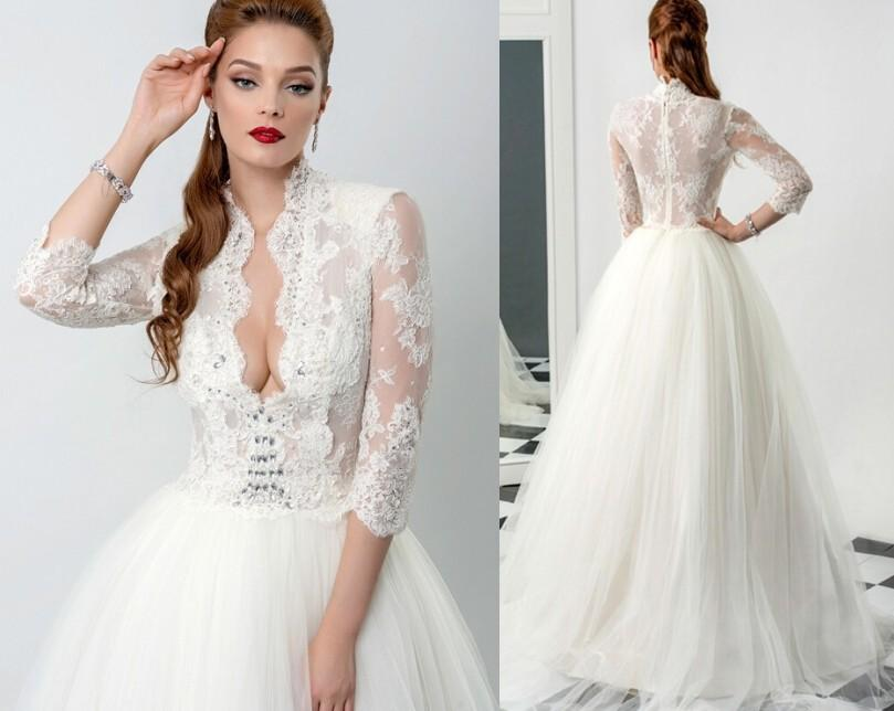 Discount Vintage Lace 2015 Wedding Dresses Applique Long Sleeves ...