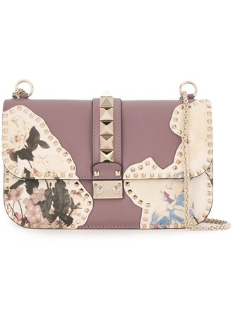 bag shoulder bag floral purple pink