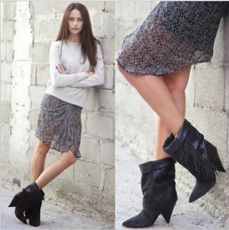 shoes boots black heels fringes ankle boots