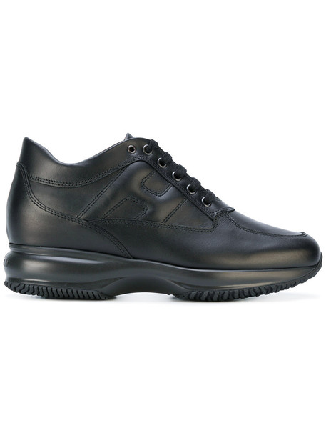 Hogan women sneakers leather black shoes
