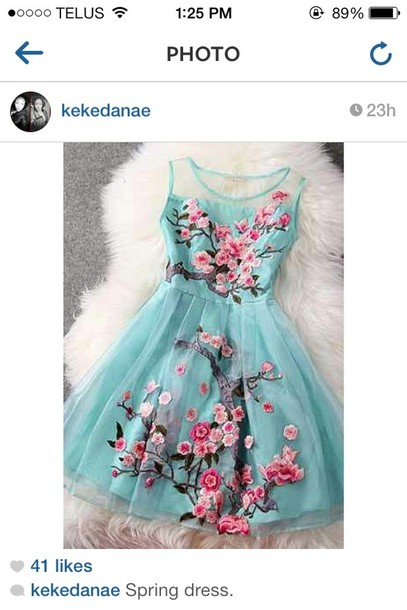 dress instagram flowers blue dress pink spring cherry blossom dress with sea foam and roses arizona green tea teal dress floral blue summer