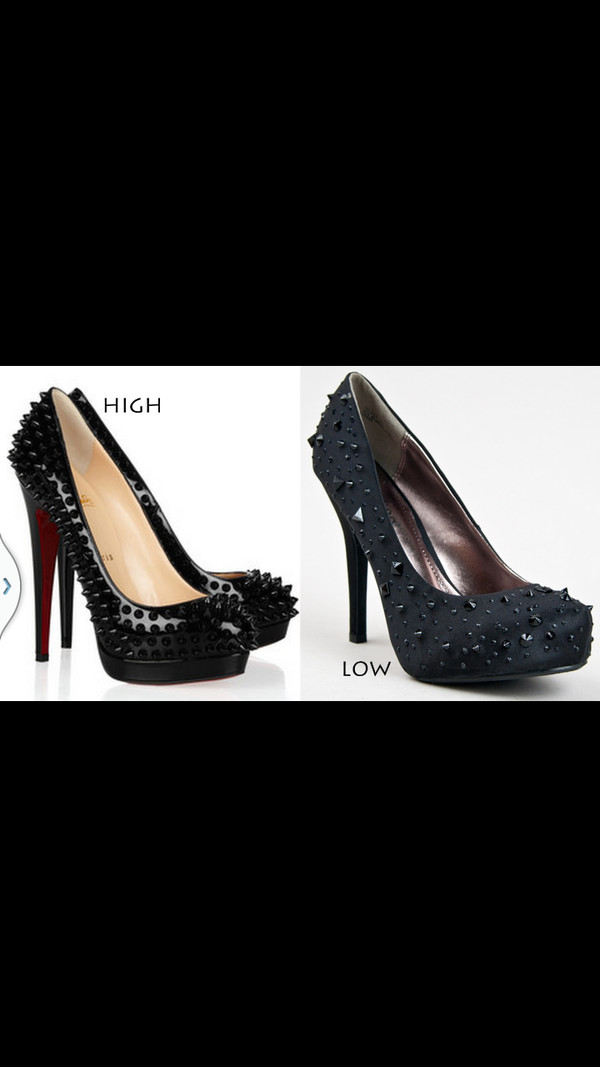 shoes black and red high heels