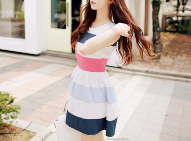 dress striped dress kfashion probably