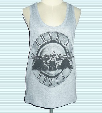 tank top sleeveless top guns and roses grey tank top racerback