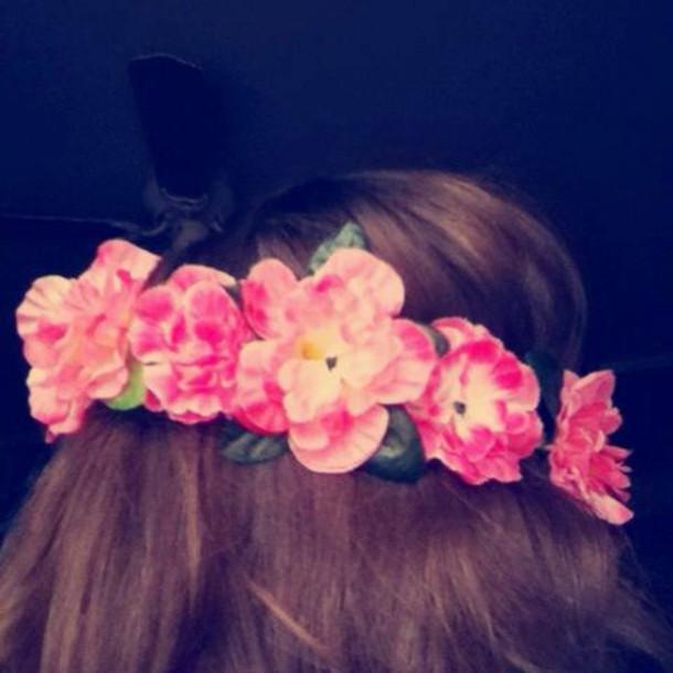 jewels pink carnation flower crown flower crown hippie hipster festival pretty hair hair accessory hair accessory hair bow