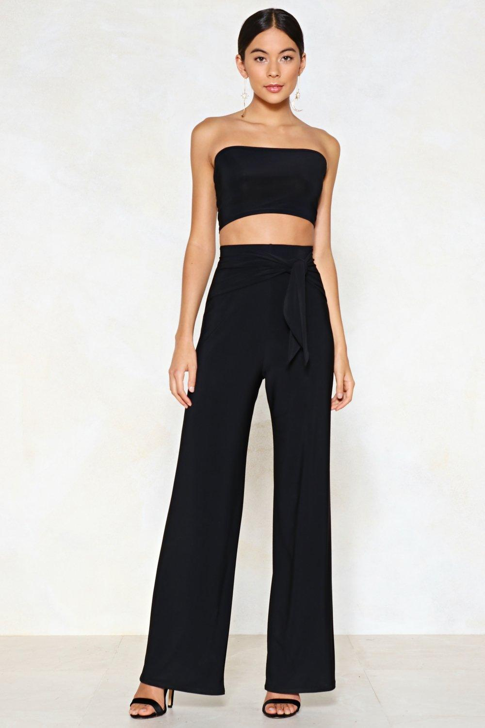 Tie Me Later Bandeau Top and Wide-Leg Pants Set | Shop Clothes at Nasty Gal!