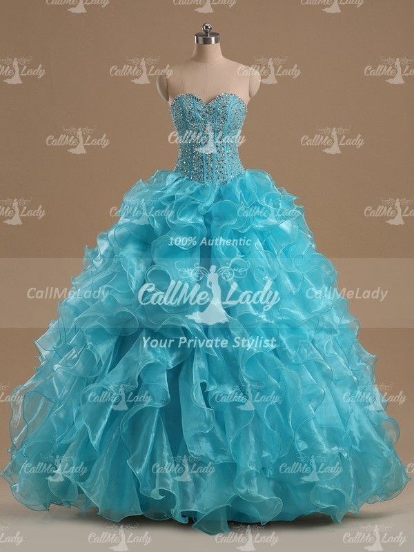 Turquoise beading ruffles sweetheart quinceanera dress / ball gowns for prom - CallMeLady