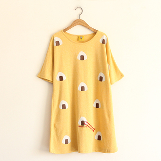 t-shirt top yellow casual sushi food kawaii shirt summer style asian fashion