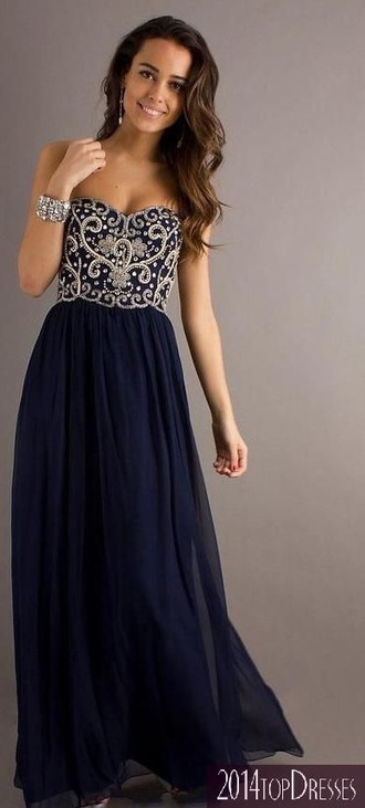 dress blue prom long embroidered long dress