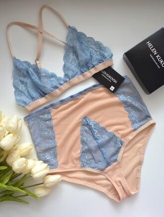 underwear lace bra lingerie lingerie set blue bra sheer lingerie lace bralette lace lingerie