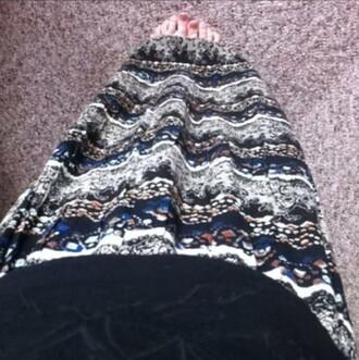 skirt long intricate paturn hipster alternative