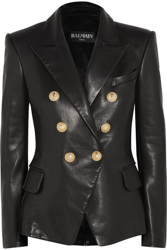 blazer leather black jacket