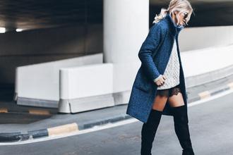 mikuta blogger coat winter sweater blue coat wool coat thigh high boots suede boots black boots